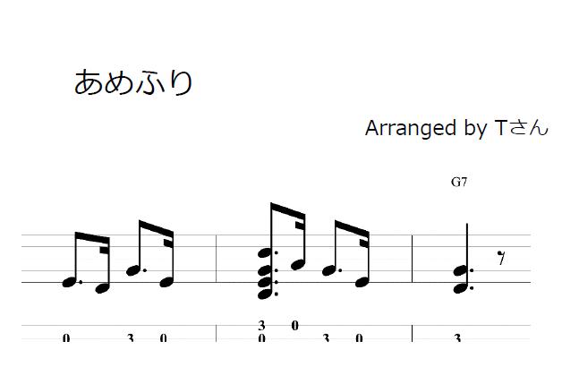 あめふり – ウクレレ無料楽譜
