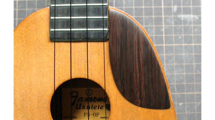 パイナップルウクレレ「Famous FS-0P」用ピックガードをローズウッドで作る!